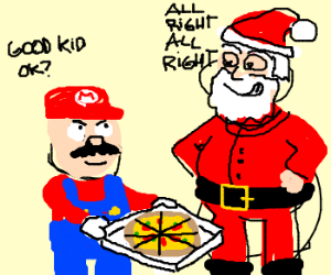 Mario Bribes Santa with Pizza