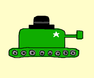 green 2D tank with a tophat