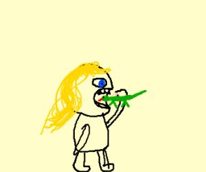 chibi girl chomps on lizard