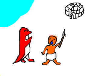 Red penguin welcomes Eskimo baby