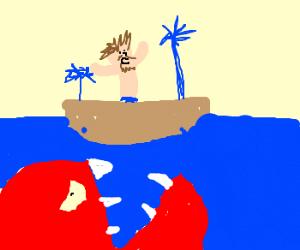 Doomed castaway on leaking raft