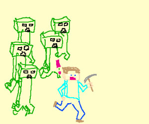 Giant Minecraft Creeper attack