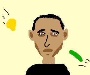 faceless obama hit by stuff
