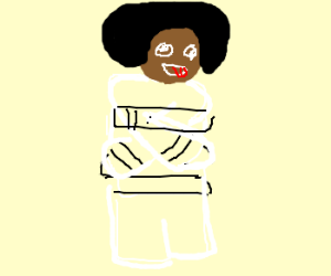Black man in straight jacket.