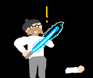 Jamie (MB) has a light saber accident