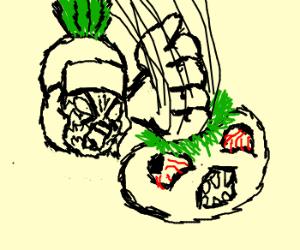 Roman pineapple karate chops tomato