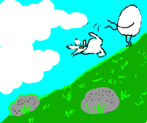 faceless egg tosses bunny down a hill