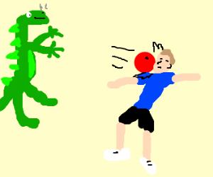 Dragon kicks ass at dodgeball