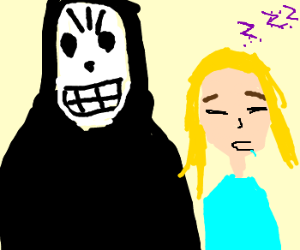 Grim reaper with sleeping girl