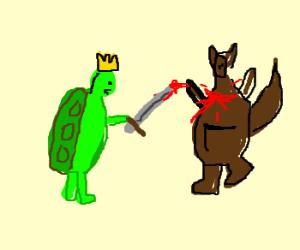 King turtle executes kangaroo