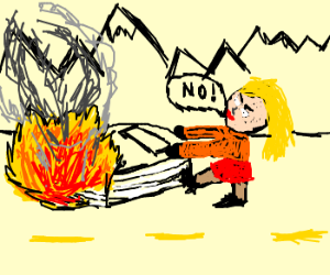Girl dragging a book that is on fire