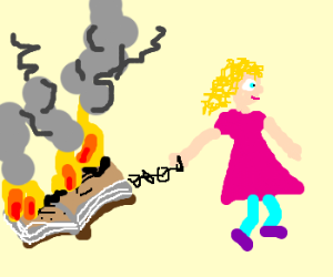 Little girl leads book burning.