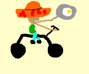 Mexican on a bike frying and egg