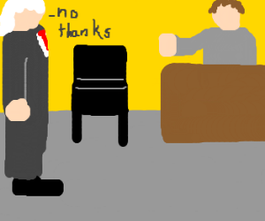 Old politician is unconcerned with chair