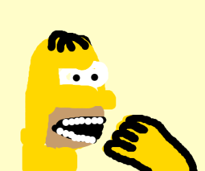 Homer Simpson eating his hand