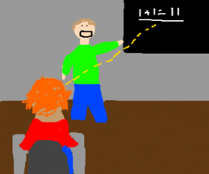 student sees math mistake on blackboard