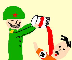 russian pours red paint on hitler