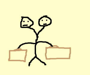 2 headed businessmen with briefcases