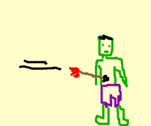 The unincreadable hulk shot by arrow.