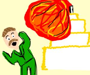 Stalin in awe before explosive bday cake