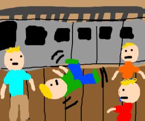 ringleader spins on ground next to train