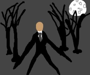 Bald faceless man walking in the moon