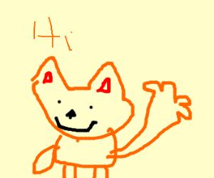 A fox says 'Hello', waving.