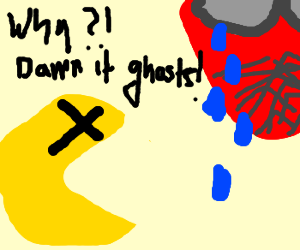 spiderman mourns dying pacman