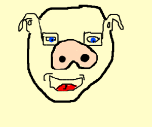 Human pig wearing glasses and laughing