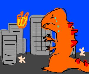 Orange Godzilla crying