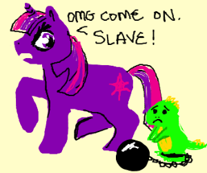 Twilight Sparkle with a green slave