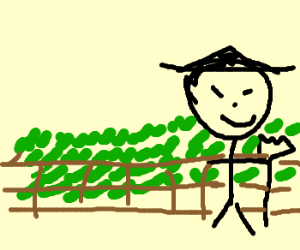 chinese man is proud of his farm