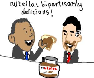 Obama and Romney eating Nutella