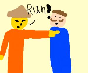 Chinese man tells italian man to run