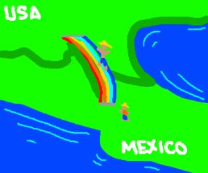 Mexican crosses rainbow bridge to USA