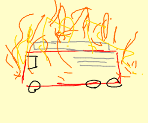 A fire engine that is on fire.