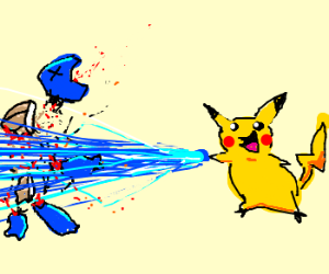 Pikachu does a critical on squirtle