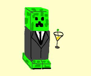 Minecraft creeper, James Bond style