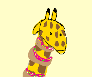 Giraffe with Donuts along his neck