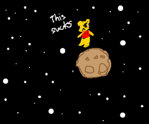 bear is angry lost in space on rock