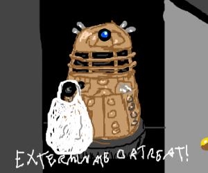 Child in Dalek costume trick-or-treats