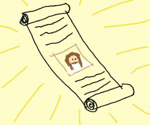 Jesus picture in a scroll