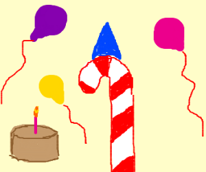 candy cane has birthday party