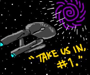 Enterprise heads for a black hole