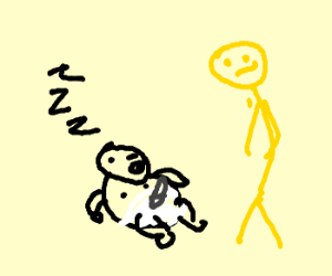 A yellow stickman watching a boy sleeping
