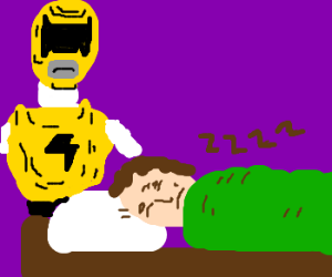 Yellow Power Ranger watches man sleep.