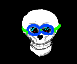 Swimming goggles on a dark evil skull
