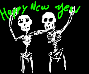 skeleton couple wishing you a happy new year