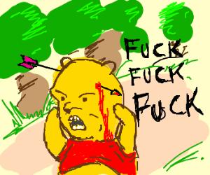 Winnie the Pooh takes an arrow to the head.