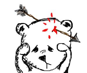 A sad bear falls victim to a stray arrow